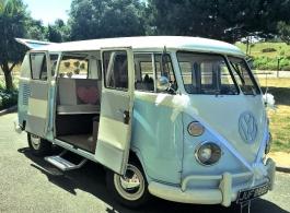 Blue VW Campervan for weddings in Rye